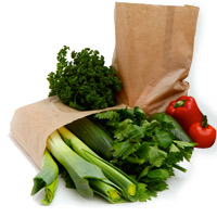 sacs papier transport fruits et légumes
