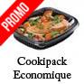 Barquette alimentaire fond noir avec couvercle cristal gamme cookipack pas cher