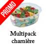 Barquette traiteur vente a emporter salader et plats froids avec couvercle multipack attenant attache